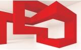 Fotobehang 3D, Design | Rood | 104x70,5cm