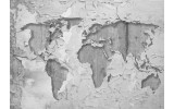Fotobehang Wereldkaart, Muur | Grijs | 208x146cm