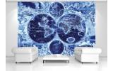 Fotobehang Wereldkaart | Blauw | 312x219cm