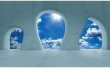 Fotobehang Muur, Lucht | Blauw | 312x219cm