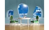 Fotobehang Muur, Lucht | Blauw | 104x70,5cm
