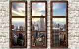 Fotobehang Skyline, Muur | Bruin | 104x70,5cm