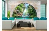 Fotobehang Papier Natuur, Muur | Groen | 368x254cm