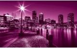 Fotobehang Skyline | Roze, Paars | 152,5x104cm