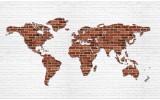 Fotobehang Wereldkaart, Muur | Bruin | 416x254