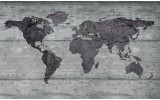 Fotobehang Wereldkaart, Hout | Grijs | 416x254