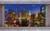 Fotobehang Skyline, Nacht | Blauw | 208x146cm