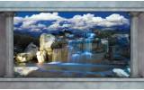 Fotobehang Vlies | Waterval, Natuur | Blauw | 368x254cm (bxh)