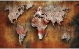 Fotobehang Papier Wereldkaart | Bruin, Oranje | 368x254cm