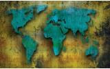 Fotobehang Wereldkaart | Turquoise, Groen | 152,5x104cm