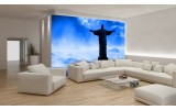 Fotobehang Brazilië, Jezus | Blauw, Zwart | 208x146cm