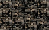 Fotobehang 3D, Hout | Grijs | 416x254
