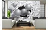 Fotobehang 3D, Muur | Zilver | 152,5x104cm