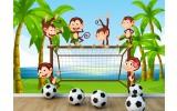 Fotobehang Aapjes, Voetbal | Groen | 152,5x104cm
