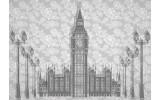 Fotobehang Big Ben | Grijs | 104x70,5cm