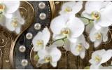 Fotobehang Orchidee, Bloemen | Wit, Goud | 416x254