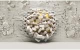 Fotobehang Papier 3D, Muur | Geel, Crème | 254x184cm