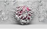 Fotobehang Papier 3D, Muur | Roze, Grijs | 368x254cm