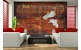 Fotobehang Muur | Oranje, Bruin | 152,5x104cm