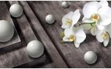 Fotobehang Vlies | 3D, Orchidee | Grijs | 368x254cm (bxh)