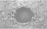 Fotobehang Papier Muur, 3D | Grijs | 368x254cm