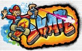 Fotobehang Graffiti | Blauw, Oranje | 312x219cm