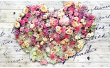 Fotobehang Papier Bloemen, Hart | Roze | 368x254cm