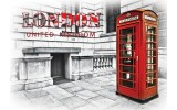 Fotobehang Papier England, London | Rood | 254x184cm