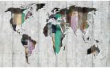Fotobehang Papier Wereldkaart | Grijs, Groen | 368x254cm