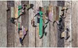 Fotobehang Wereldkaart, Hout | Grijs, Bruin | 312x219cm