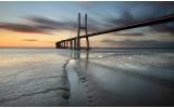 Fotobehang Vlies | Brug, Zee | Grijs | 368x254cm (bxh)
