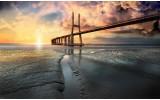 Fotobehang Vlies | Brug, Zee | Geel | 368x254cm (bxh)