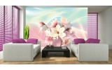 Fotobehang Papier Magnolia, Bloem | Roze | 254x184cm