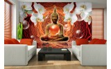 Fotobehang Papier Boeddha, Orchidee | Oranje | 254x184cm