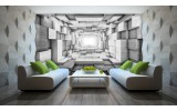 Fotobehang 3D, Hout | Grijs | 208x146cm