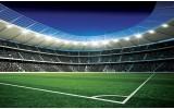 Fotobehang Vlies | Voetbalveld | Blauw, Groen | 368x254cm (bxh)