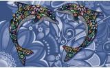 Fotobehang Dolfijnen | Blauw | 416x254