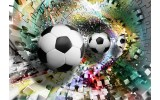 Fotobehang Vlies | Voetbal | Turquoise, Geel | 368x254cm (bxh)