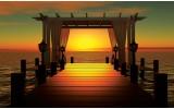 Fotobehang Vlies | Zonsondergang | Oranje, Bruin | 368x254cm (bxh)