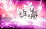 Fotobehang Papier Paarden   Roze   254x184cm
