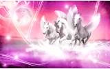 Fotobehang Vlies | Paarden | Roze | 368x254cm (bxh)