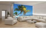 Fotobehang Papier Tropisch | Blauw | 254x184cm