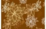 Fotobehang Papier Bloemen | Bruin | 254x184cm