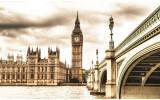 Fotobehang Papier London | Sepia | 254x184cm
