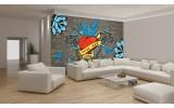 Fotobehang Art | Grijs, Rood | 416x254